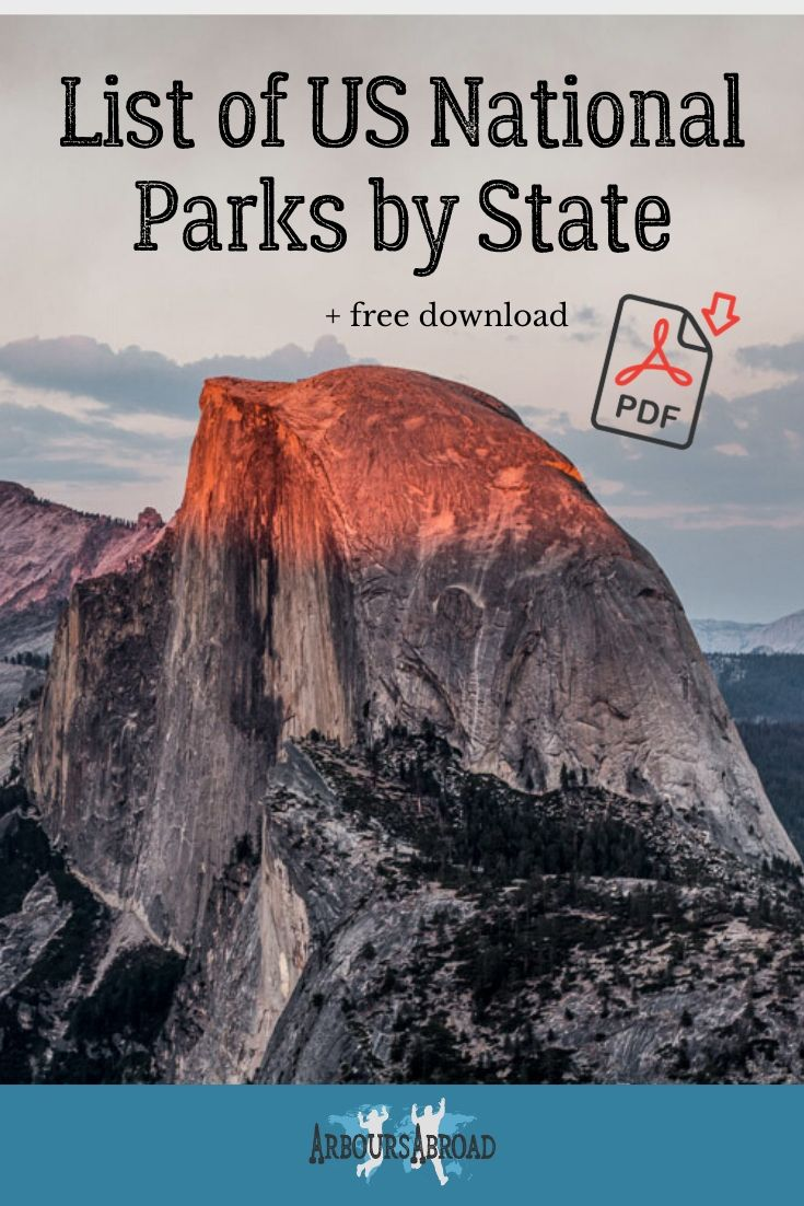 List Of Us National Parks By State Free National Parks Checklist Pdf