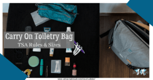 Carry on toiletry, canva design, arboursabroad, travel advice